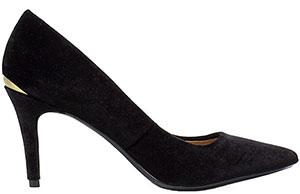 94232c55330 Βελούδινες μαύρες γόβες με χαμηλό τακούνι και χρυσή λεπτομέρεια από την  εταιρεία Calvin Klein – Tsouderos – 95,00 €