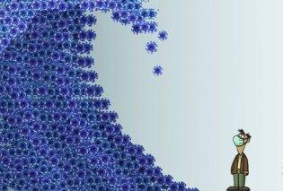 """Το σκίτσο του Αρκά για την πανδημία: Το """"κύμα"""" του κορωνοϊού & η μάσκα - Κυρίως Φωτογραφία - Gallery - Video"""