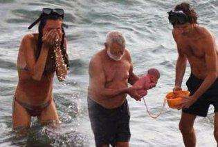 Απίστευτες φωτογραφίες: Γυναίκα γέννησε μέσα στη θάλασσα και έγινε viral! - Κυρίως Φωτογραφία - Gallery - Video