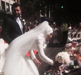 Τον γύρο του κόσμου κάνει η φωτογραφία αυτής της Μουσουλμάνας νύφης που αφήνει το μπουκέτο της στην καφετέρια του μακελειού του Σίδνεϊ!  - Κυρίως Φωτογραφία - Gallery - Video