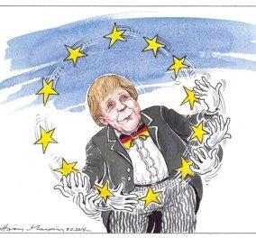 Η Άνγκελα Μέρκελ σε ρόλο... ταχυδακτυλουργού! Αυτό, ή μήπως παίζει όλη την Ευρώπη στα... δάχτυλά; Απολαύστε τη σημερινή γελοιογραφία του Η. Μακρή και αναρωτηθείτε μαζί μας! - Κυρίως Φωτογραφία - Gallery - Video