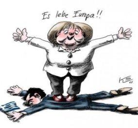 Το καυστικό σκίτσο Γερμανού καρτουνίστα για τη συμφωνία: Η Μέρκελ ποδοπατάει τον Τσίπρα & αναφωνεί: «Ζήτω η Ευρώπη!» - Κυρίως Φωτογραφία - Gallery - Video