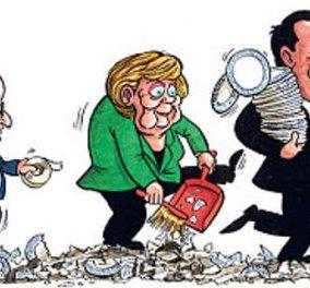 Καυστικό σκίτσο της Telegraph: Ο ''γλετζές'' Τσίπρας σπάει πιάτα, η Μέρκελ μαζεύει & ο Ολάντ τα κολλάει - Κυρίως Φωτογραφία - Gallery - Video