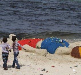 Τεράστιο γλυπτό του μικρού Αϊλάν σε παραλία της Γάζας προκαλεί ρίγη & συγκίνηση      - Κυρίως Φωτογραφία - Gallery - Video