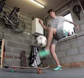 Φανταστικό βίντεο με ένα αγόρι να κάνει τρελά κόλπα με την μπάλα στο γκαράζ του    - Κυρίως Φωτογραφία - Gallery - Video
