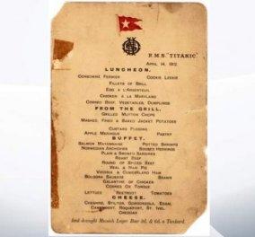 Κάποιος αγόρασε το τελευταίο σπάνιο έγγραφο μενού του Τιτανικού για 88.000 δολάρια  - Κυρίως Φωτογραφία - Gallery - Video