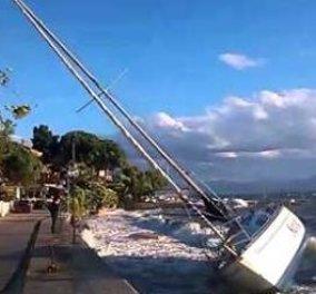 Βίντεο: Φθιώτιδα -Ένα ολόκληρο Ιστιοπλοϊκό βγήκε στη στεριά απο την θαλασσοταραχή  - Κυρίως Φωτογραφία - Gallery - Video