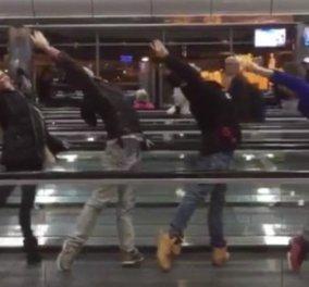 """Viral Βίντεο: Και ξαφνικά εξαίσιοι χορευτές έδωσαν παράσταση στο αεροδρόμιο για να μη βαριούνται - """"Κόκκαλο"""" οι θεατές - Κυρίως Φωτογραφία - Gallery - Video"""