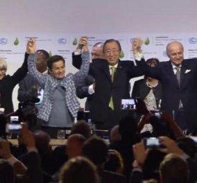Υπεγράφη στο Παρίσι η ιστορική συμφωνία για το κλίμα: Με δάκρυα στα μάτια η δέσμευση για να μην αυξηθεί άλλο η θερμοκρασία - Κυρίως Φωτογραφία - Gallery - Video