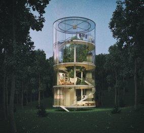 """Ασύλληπτο: Ολοστρόγγυλο διάφανο γυάλινο σπίτι """" φύτρωσε"""" σε ένα δάσος από έλατα - Κυρίως Φωτογραφία - Gallery - Video"""