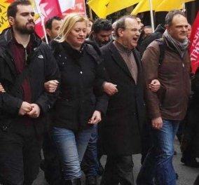 Μπροστάρηδες Ραχήλ Μακρή & Δημήτρης Στρατούλης στην πορεία των ΓΣΕΕ-ΑΔΕΔΥ (Φωτό) - Κυρίως Φωτογραφία - Gallery - Video