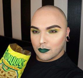 Τρελάρας μακιγιέρ συνδυάζει τα χρώματα των cheetos & των lay's του με το μακιγιάζ στο δικό του πρόσωπο  - Κυρίως Φωτογραφία - Gallery - Video