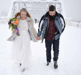 Ωραίος ολόλευκος γάμος (βίντεο) Παντρευτήκαν μέσα στην χιονοθύελλα πάνω στην παγωμένη γέφυρα του Tennessee  - Κυρίως Φωτογραφία - Gallery - Video