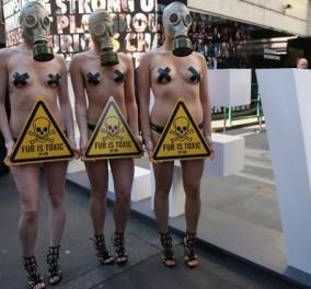 Γυμνή διαμαρτυρία από τις ακτιβίστριες της PETA κατά της γούνας στην Εβδομάδα Μόδας του Λονδίνου - Κυρίως Φωτογραφία - Gallery - Video