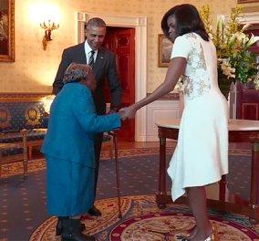 Φώτο - Βίντεο: Γιαγιά 106 χρονών χορεύει & πηδάει από την χαρά της μόλις βλέπει το ζεύγος Ομπάμα  - Κυρίως Φωτογραφία - Gallery - Video