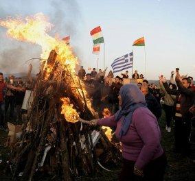 Κούρδοι από τη Συρία και το Ιράκ γιόρτασαν την εαρινή ισημερία, το Νεβρόζ, στην Ειδομένη - Κυρίως Φωτογραφία - Gallery - Video