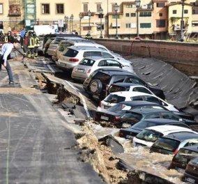 Δείτε φωτογραφία στην Φλωρεντία: Υποχώρησε ο δρόμος και ρούφηξε τα αυτοκίνητα   - Κυρίως Φωτογραφία - Gallery - Video