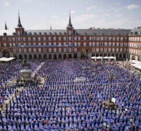 3.000 Ισπανοί έκαναν γιόγκα στην κεντρική πλατεία της Μαδρίτης! Αφιέρωσαν τη μέρα στις κακοποιημένες γυναίκες - Κυρίως Φωτογραφία - Gallery - Video
