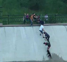 """Βίντεο: Μια ομάδα από... """"Καλούς Σαμαρείτες"""" έφτιαξαν ανθρώπινη αλυσίδα για να σώσουν έναν σκύλο - Κυρίως Φωτογραφία - Gallery - Video"""