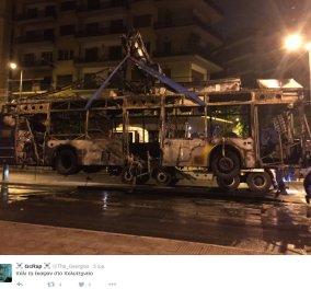 Έγινε η νύχτα - μέρα στο Πολυτεχνείο: Αντιεξουσιαστές πυρπόλησαν λεωφορείο & τρόλεϊ - Κυρίως Φωτογραφία - Gallery - Video