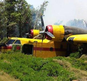 Αναγκαστική προσγείωση πυροσβεστικού αεροσκάφους στα Δερβενοχώρια - Σώοι οι 2 πιλότοι - Κυρίως Φωτογραφία - Gallery - Video