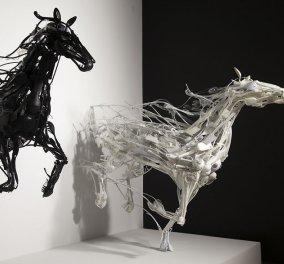 Άλογα που μοιάζουν να καλπάζουν, δελφίνια που δείχνουν να κολυμπούν & άλλα γλυπτά φτιαγμένα….από σκουπίδια - Κυρίως Φωτογραφία - Gallery - Video