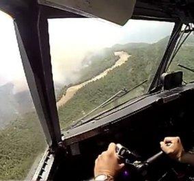 Σπάνιο βίντεο ντοκουμέντο μέσα από το πιλοτήριο: Canadair βουτά στις φλόγες στην Εύβοια - Κυρίως Φωτογραφία - Gallery - Video