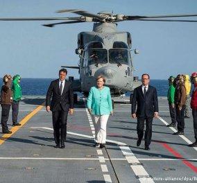 Καρέ καρέ η καλοκαιρινή συνάντηση Κορυφής Ρέντσι - Ολάντ - Μέρκελ πάνω στο αεροπλανοφόρο με φόντο το ειδυλλιακό Βεντοτένε   - Κυρίως Φωτογραφία - Gallery - Video