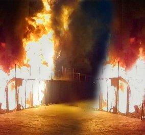 Νύχτα τρόμου στην Λέσβο: Έκαψαν το στρατόπεδο - Στο νησί 2 διμοιρίες ΜΑΤ (Φωτό - βίντεο) - Κυρίως Φωτογραφία - Gallery - Video