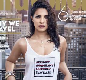 Σάλος στο Boolywood με φωτογράφιση Ινδής σταρ: Πόζαρε με μπλουζάκι - προσβολή για τους πρόσφυγες - Κυρίως Φωτογραφία - Gallery - Video