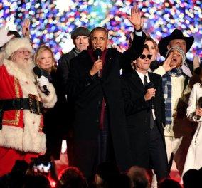 Κατασυγκινημένος ο Ομπάμα άναψε για τελευταία φορά το δέντρο του Λ. Οίκου (Φωτό - βίντεο) - Κυρίως Φωτογραφία - Gallery - Video
