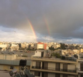 Μοναδικό & goοd news: Ο ουρανός στο Ηράκλειο της Κρήτης ανέδειξε διπλό ουράνιο τόξο - Κυρίως Φωτογραφία - Gallery - Video