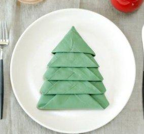 Δείτε στα βιντεάκια πως θα φτιάξετε εύκολα τις χαρτοπετσέτες σε σχήμα Χριστουγεννιάτικου δέντρου ή αστεριού  - Κυρίως Φωτογραφία - Gallery - Video