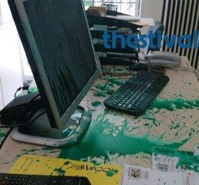 Επίθεση στα γραφεία της εφημερίδας «Καθημερινή» στη Θεσσαλονίκη - Πέταξαν μπογιές και φέιγ βολάν (Φωτό - Βίντεο) - Κυρίως Φωτογραφία - Gallery - Video