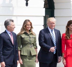 Συναντήσεις πολιτικών ή επίδειξη μόδας: Άστραφτε η Μελάνια με λαδί μίλιτερ & κατακόκκινο η πρώτη κυρία της Αργεντινής - Κυρίως Φωτογραφία - Gallery - Video