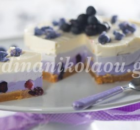 Εκπληκτικό ανοιξιάτικο cheesecake με μύρτιλα από τη Ντίνα Νικολάου - Κυρίως Φωτογραφία - Gallery - Video