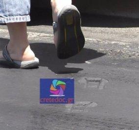 40 βαθμοί λιώνει μέχρι και η άσφαλτος - Δείτε τι συνέβη σε δρόμο στο Ρέθυμνο (Φωτό-Βίντεο) - Κυρίως Φωτογραφία - Gallery - Video