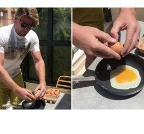 Ο Σπύρος Σούλης τηγάνισε scrumbled eggs στο μπαλκόνι αφού πυρακτώθηκε πρώτα το τηγάνι του (Βίντεο) - Κυρίως Φωτογραφία - Gallery - Video