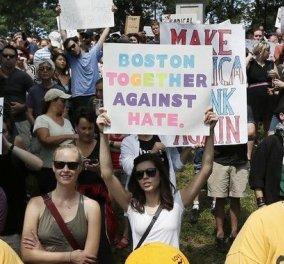 Χιλιάδες διαδηλωτές κατά του ρατσισμού στους δρόμους της Βοστόνης - Το μήνυμα του Ντόναλντ Τραμπ - Κυρίως Φωτογραφία - Gallery - Video