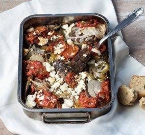 Μοσχάρι, λαχανικά και φέτα σε ένα ταψί που μυρίζει καλοκαίρι από την Αργυρώ - Κυρίως Φωτογραφία - Gallery - Video