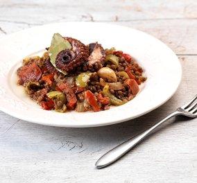 Καλοκαιρινές φακές με χταπόδι και λαχανικά μαγειρεύει η Αργυρώ - Κυρίως Φωτογραφία - Gallery - Video