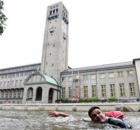 Γερμανός πάει κολυμπώντας στην δουλειά του για να γλυτώσει την κίνηση χειμώνα καλοκαίρι! Βίντεο – φωτό - Κυρίως Φωτογραφία - Gallery - Video