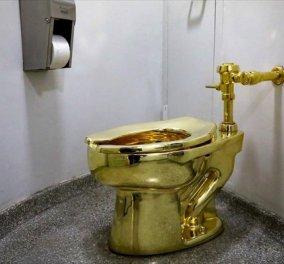 Ουρά κάνουν οι επισκέπτες μουσείου για να επισκεφθούν την ολόχρυση τουαλέτα 18 καρατίων - Κυρίως Φωτογραφία - Gallery - Video