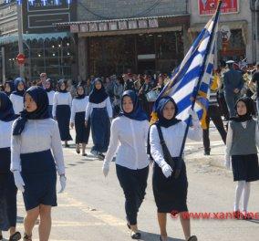Ξάνθη: Παρέλαση μόνο με μαντίλες για πρώτη φορά σε εθνική εορτή - Κυρίως Φωτογραφία - Gallery - Video