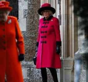 Σικ & φινετσάτη στα κόκκινα η Καμήλα! Η Δούκισσα της Κορνουάλης μαζί με την Βασίλισσα Ελισάβετ αποχωρούν από την εκκλησία της Μαρίας Μαγδαληνής (ΦΩΤΟ) - Κυρίως Φωτογραφία - Gallery - Video