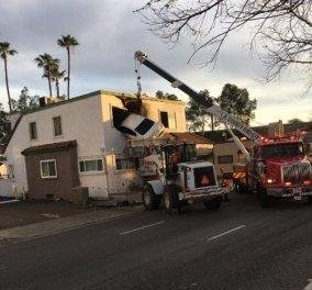 Απίστευτο: Άνδρας καρφώνει το αυτοκίνητο του στον πρώτο όροφο ενός κτιρίου στη Καλιφόρνια - ΦΩΤΟ  - Κυρίως Φωτογραφία - Gallery - Video
