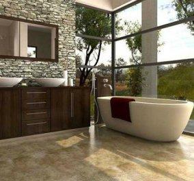 Υπέροχες προτάσεις για πέτρα στον τοίχο του μπάνιου σας! Δεν θα βγαίνετε από την μπανιέρα σας αν δεν μουλιάσετε... (ΦΩΤΟ) - Κυρίως Φωτογραφία - Gallery - Video