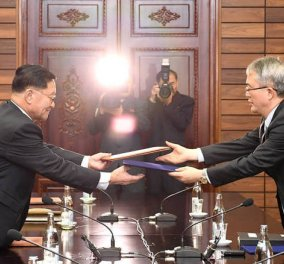 Ιστορική συμφωνία Νότιας και Βόρειας Κορέας μετά από πολυήμερες διαπραγματεύσεις  - Κυρίως Φωτογραφία - Gallery - Video