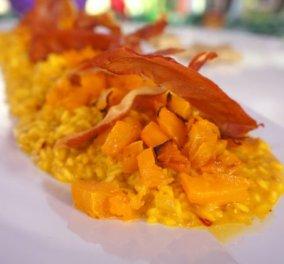 Gourmet & λαχταριστό ριζότο με κίτρινη κολοκύθα και κρόκο Κοζάνης από τον Βαγγέλη Δρίσκα - Κυρίως Φωτογραφία - Gallery - Video