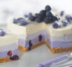 Δροσερό & λαχταριστό! Cheesecake ανοιξιάτικο με μύρτιλα από την Ντίνα Νικολάου - Κυρίως Φωτογραφία - Gallery - Video